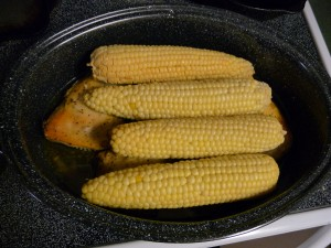 Fresh Corn on the Cob After Removing Parchment Paper Wrapping